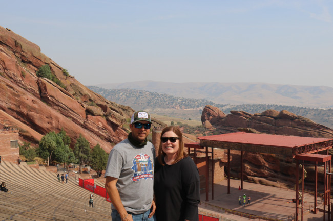 Red Rocks Amphitheatre! After walking up those steps we had to take a break and enjoy the view. Hopefully one day we will get to go back to a concert there.
