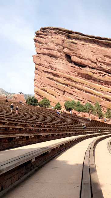 Looking up at the Red Rocks Amphitheatre at how many steps we  just walked.