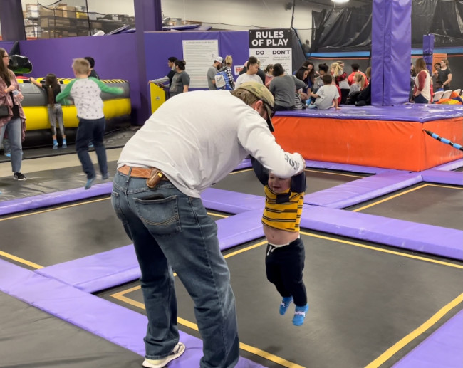 Just a little trampoline park fun.  Courtney and our littlest nephew had a fun time bouncing around.