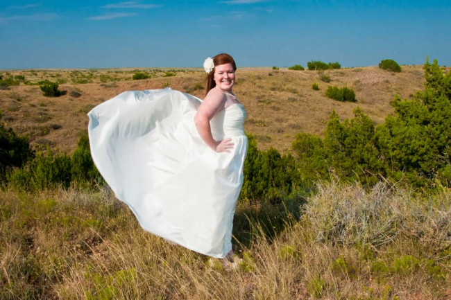 When I was taking my bridal pictures the good olé West Texas wind decided to join in on the fun. This turned out to be one of my favorite pictures.