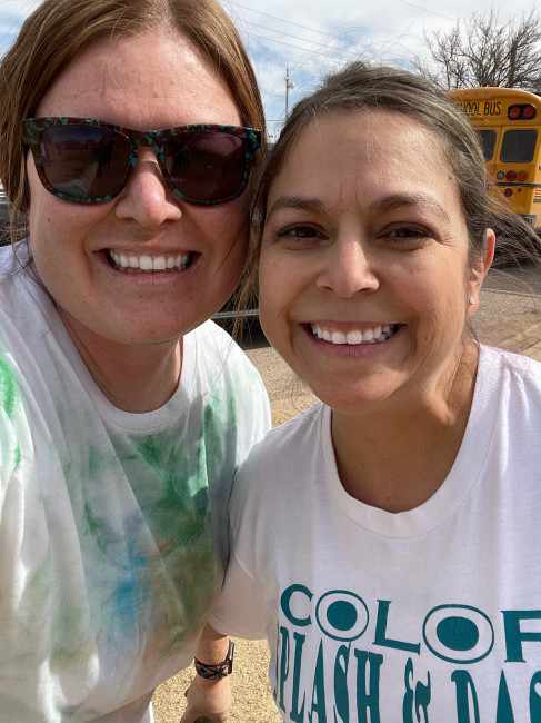 Me and one of my co-teachers, Frances enjoying the Color Run at school.