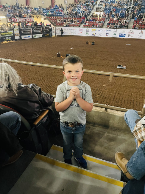 We enjoyed the San Angelo Rodeo! The best part of was bull riding because this kid waited all night for it.