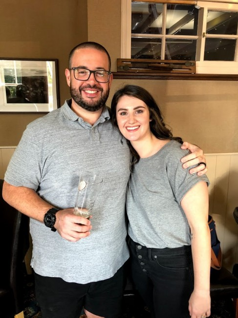 Stephen & his sister-in-law, Kellie at a pub in England.