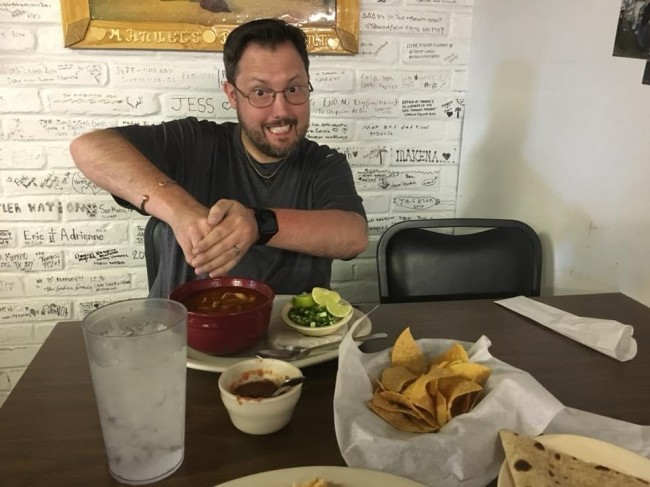 No road trip is complete without a visit to the local restaurants. Wyatt loves Mexican food. Here he is preparing to enjoy Menudo.