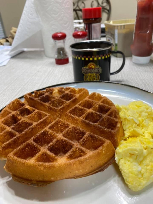 Weekends mean big breakfast time. It may be waffles, chocolate chip pancakes, or even homemade blueberry muffins. Pictured are cinnamon waffles with scrambled eggs.