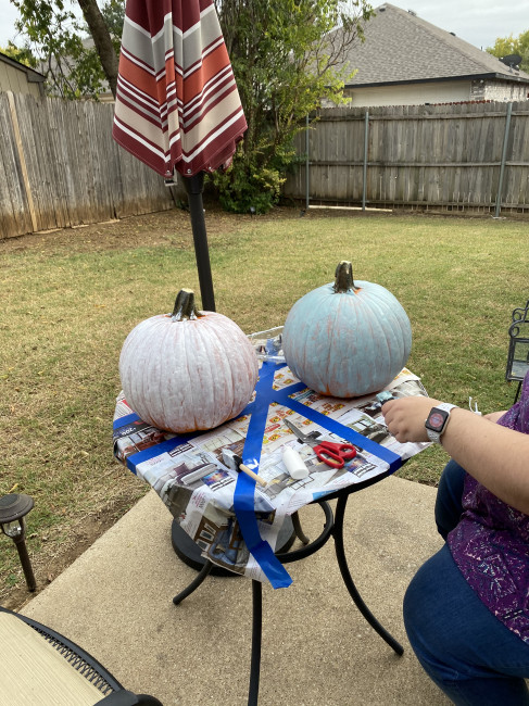 This year we decided to paint our pumpkins to go with the theme of our front yard-The Nightmare Before Christmas.