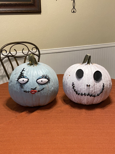 The finished products-Sally and Jack. I MIGHT have gone back and added extra paint to Wyatt's pumpkin when he wasn't looking so that it had more color. ;)