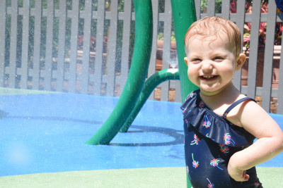 A local splash pad is one of our favorite places to visit in the summer.
