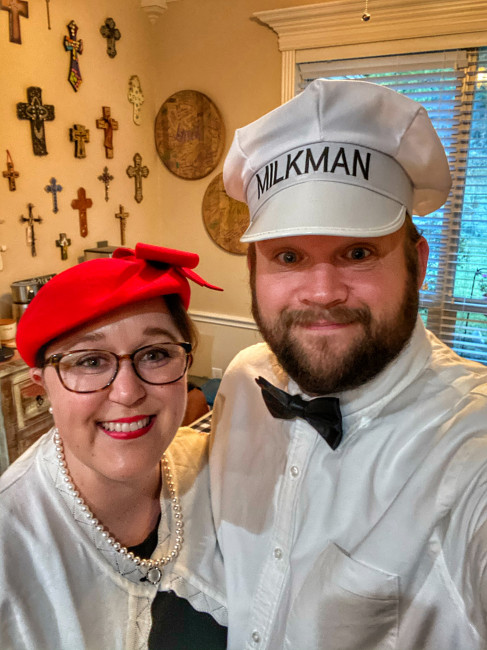 We are not normally dress up for Halloween people, but during this weird year, we had a very small dinner with friends and dressed up! Samantha was a 50s housewife and Stephen the Milkman. We had a great time!